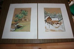 2 herzige Gouachen, Naive Malerei, Gussmack, frühes 20. Jh.