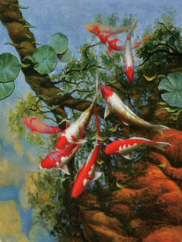 Modern wall Home Decor print art oil painting Feng Shui Fish Koi Painting dw038