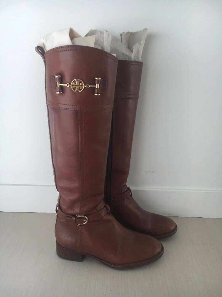 Tory Burch Brown Leather Riding Boots Size 5