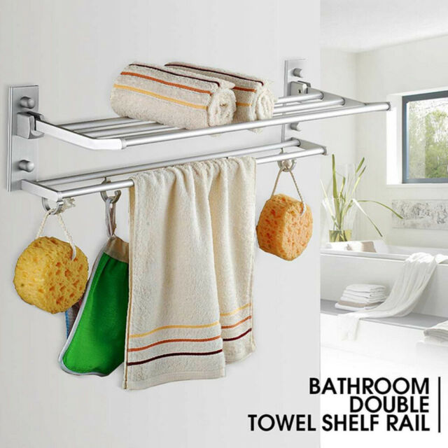 Multi Color Wall Bathroom Kitchen Mounted Holder Towel Hanger Rack Aluminum Hook