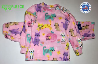 ZooFleece Leopard Cheetah Animal Fleece Girls Kids Pajama PJ Sweatsuit Top Pant