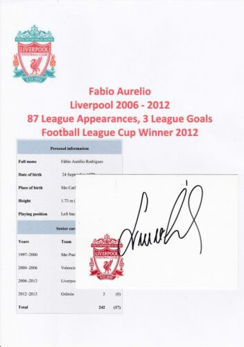 FABIO AURELIO LIVERPOOL 20062012 ORIGINAL HAND SIGNED CRESTED CARD