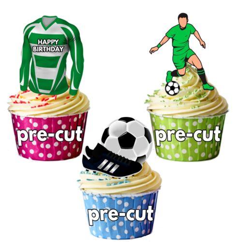 Precut Anniversaire Football Party Pack Cup Cake Toppers Décoration Celtic Colours