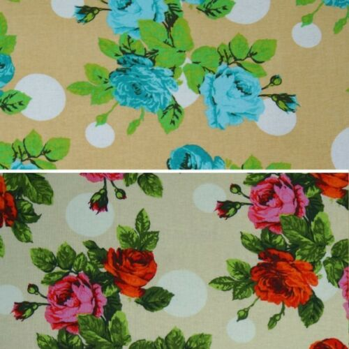 Large Roses Blooming On Polka Dot Spots Floral 100/% Cotton Fabric 145cm Wide