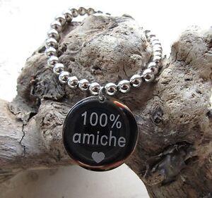 Bracciale-con-ciondolo-rotondo-034-100-AMICHE-034-Acciaio-316L