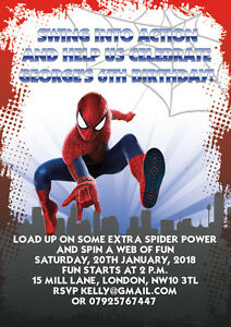 10 X Spiderman Personalised Children Birthday Invitations Thank You