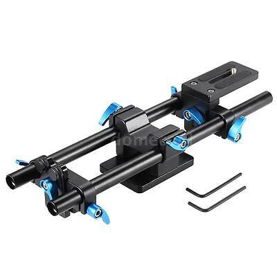 Aluminum 15MM Rail Rod Support System High Riser Baseplate for DSLR Camera O1J9
