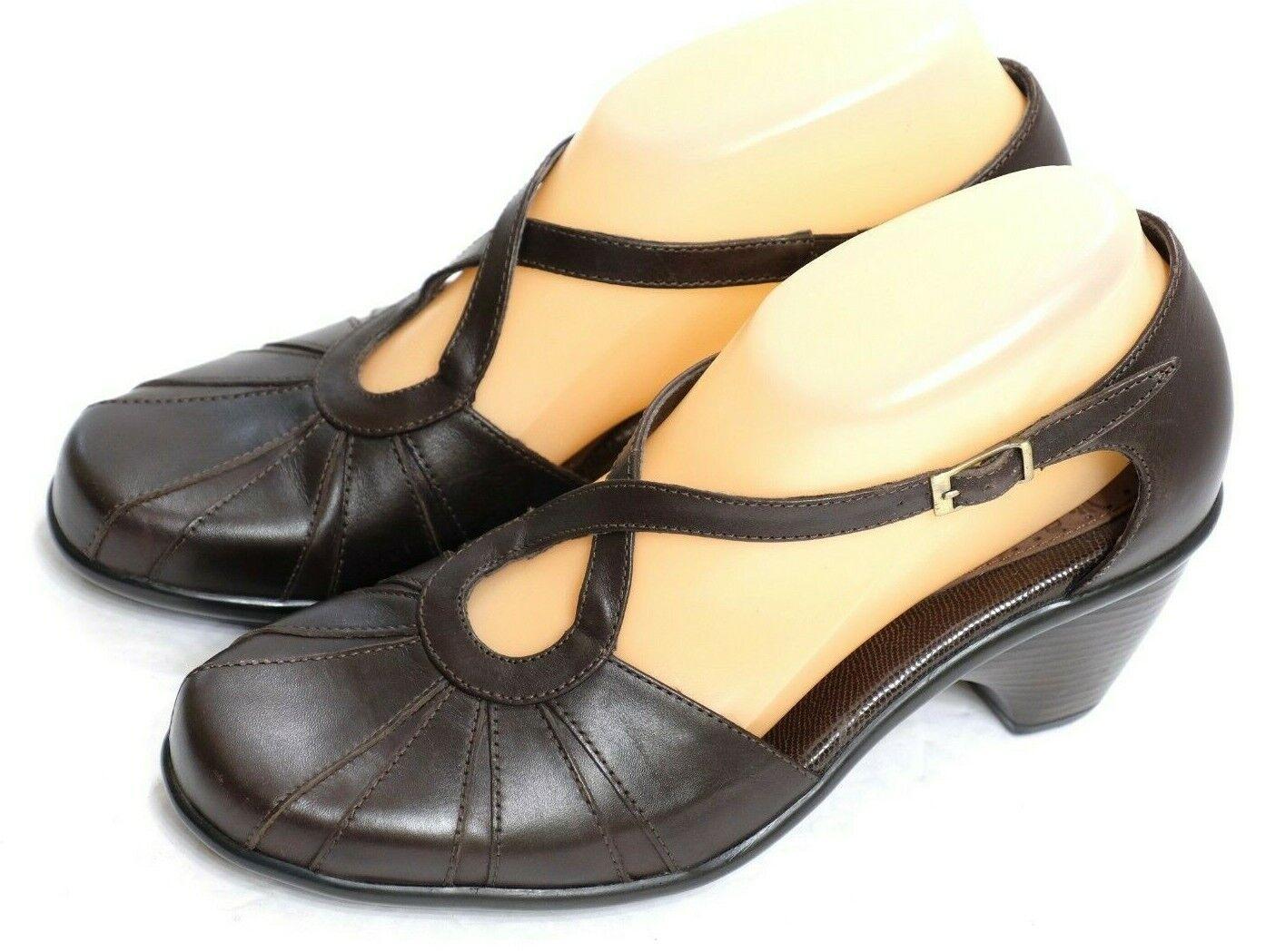 EUC Dansko Women's Size EUR 37 US 6.5-7 Brown Leather Ankle Cross Strap Heels