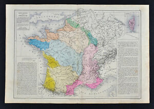 Map Of France With Mountains.1885 Drioux Map France Physical Mountains Volcano Geology French