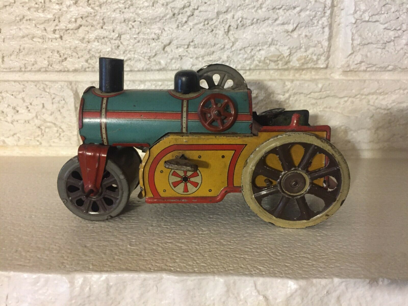 Antique Rare Early goldbr German Tin Litho Working Working Working  Wind Up Steam Roller afb8e4