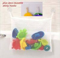 Kids Bathroom Toy Hanging Mesh Storage Bag Organizer With 2ps Reusable Hooks