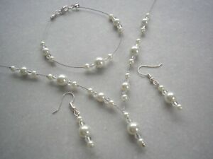 Handmade Pearl Crystal Necklace Set Bridal Bridesmaid Wedding