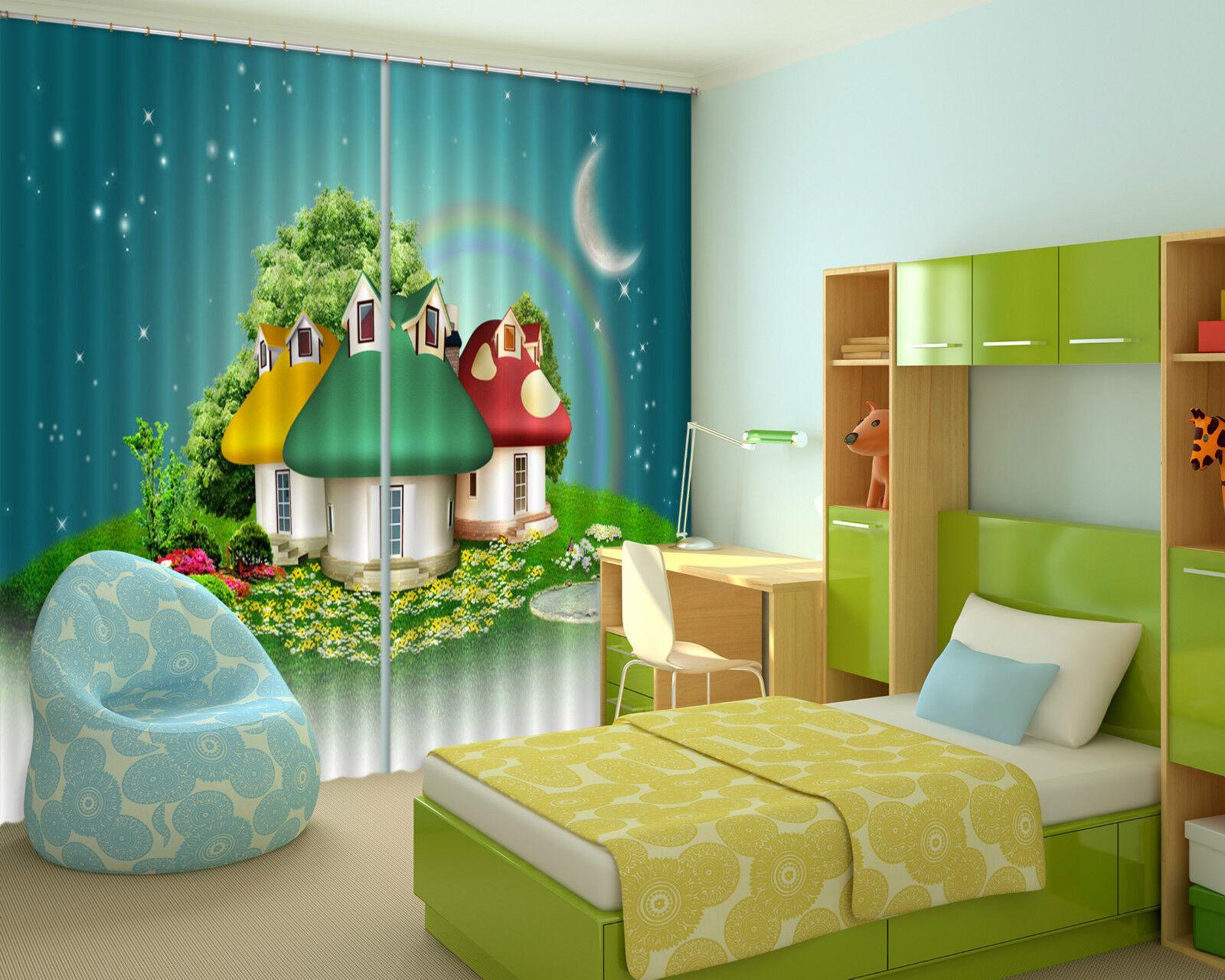 3d encantadora casa bloqueo foto cortina cortina de impresión sustancia cortinas de ventana