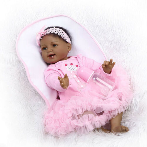 """22/"""" Reborn African American Doll Black Silicone Baby Dolls that Look Real Girl"""