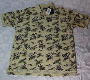 e593d2b6213 IZOD Men's Polo Shirt X-LARGE Tropical Tan Hawaiian Cotton Shirt NWT ...