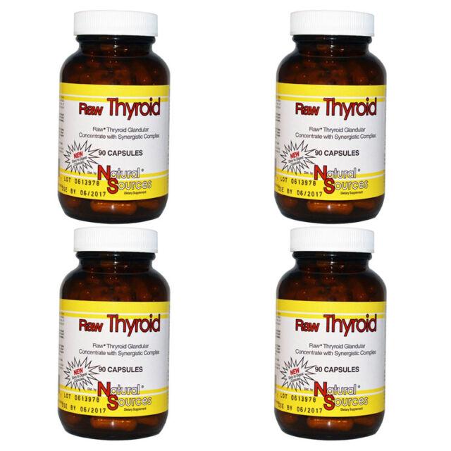 4X NATURAL SOURCES RAW THYROID GLANDULAR GLUTEN FREE DAILY BODY CARE HEALTHY