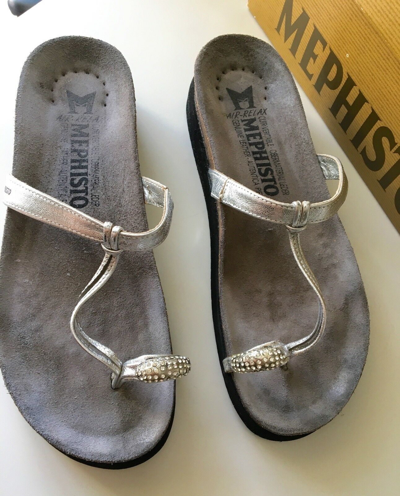 Mephisto Silver HATTY Women's Sandals w  Jewel Encrusted Toe Ring – Size 41 EU