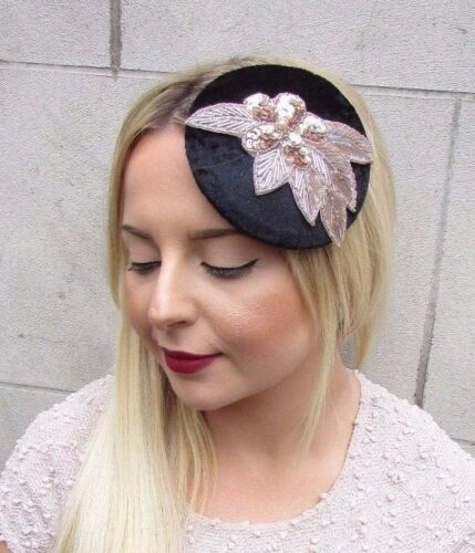 Or Rose en Velours Noir Sequin Fascinator chapeau races Bandeau Pince à cheveux vintage 2679