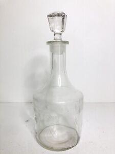 Vintage Cut Glass Decanter Glass Mid Century Modern Design -bourbon/whisky/gin