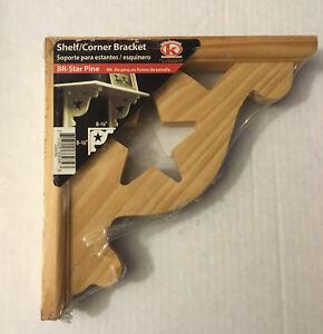 "KOK'S Shelf Support Corner Bracket BR - STAR PINE Unfinished Wood 8-3/8"" x 8-3/8"