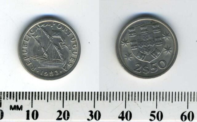 Portugal 1983  - 2 1/2 Escudos Copper-Nickel Coin - Ship