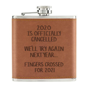 2020-Est-Officiellement-Cancelled-170ml-Cuir-PU-Hip-Flasque-Brun-Blague-Worst-An