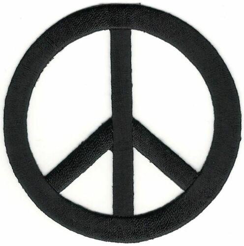 "3/"" Black Hippy Peace CND Sign Symbol embroidery patch"