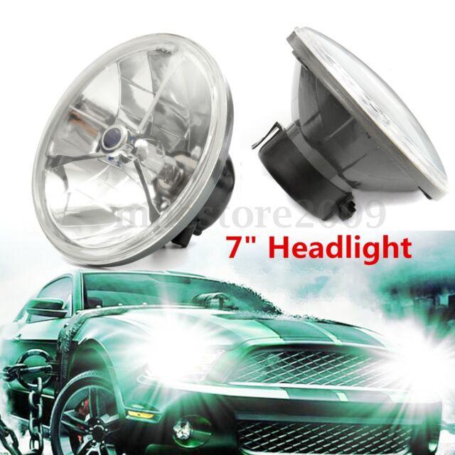2X Universal 7'' H4 Blue Dot Glass Tri Bar Headlight For Ford Chevy Nova 55 56 +