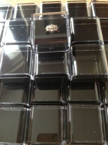 JEWELLERY COINS MEDALS KEEPSAKE WHOLESALE JOBLOT 100 BLACK AND CLEAR RING BOX