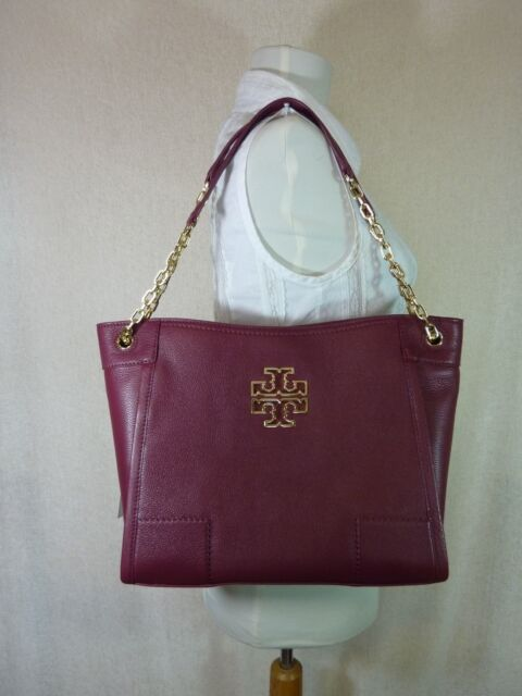 Tory Burch Britten Small Slouchy Leather Tote Handbag Purse In Red Agate