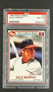 1990-Post-Food-Issue-Cereal-18-Dale-Murphy-Atlanta-Braves-PSA-8-NM-MT