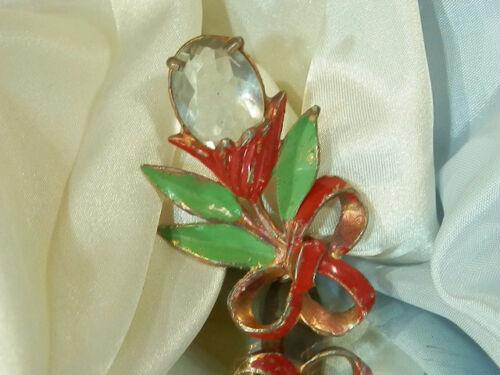 Cool Vintage 40's Enamel Flower Crystal Dress Clip