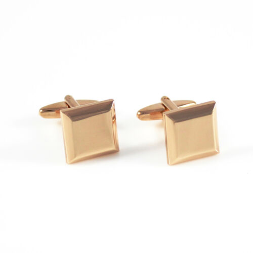 New Classic Rosegold Square Cufflinks Bevel Sides Square Cufflinks 0043