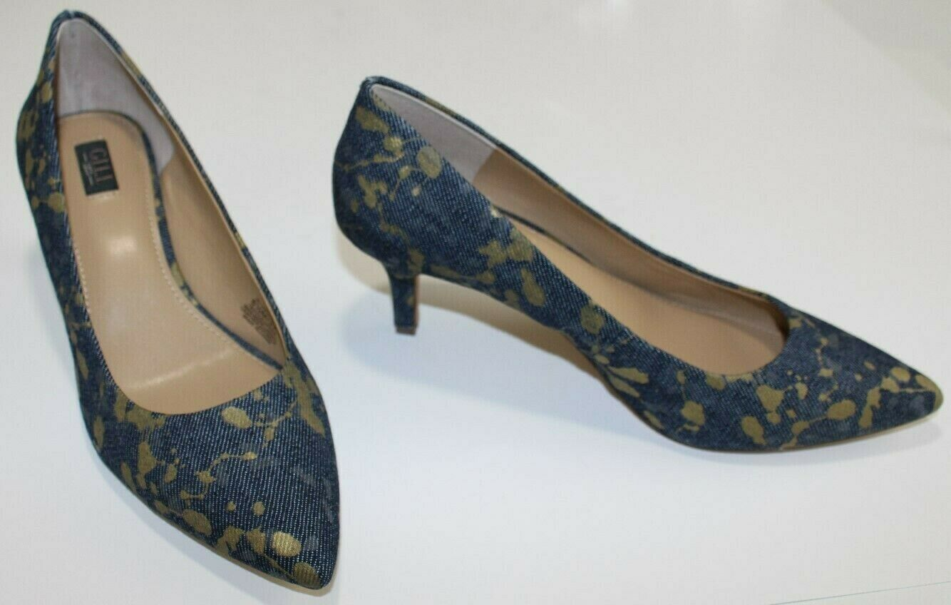 G.I.L.I. 6.5 M bluee Jean Textile Pointed Toe UNWORN Pumps Mid 2 3 8  Heel gold