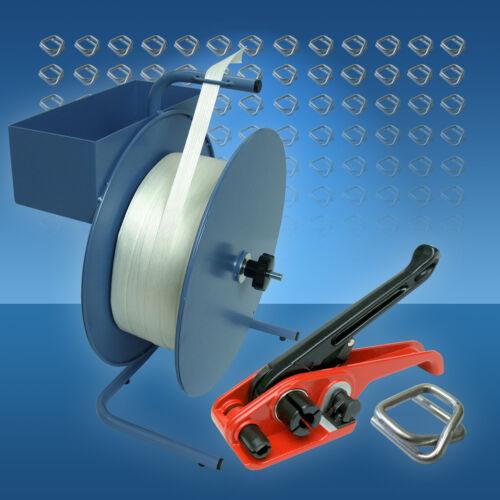 Verschlussklemmen 19 mm Umreifungsset Textilband Umreifungsgerät Abrollgerät