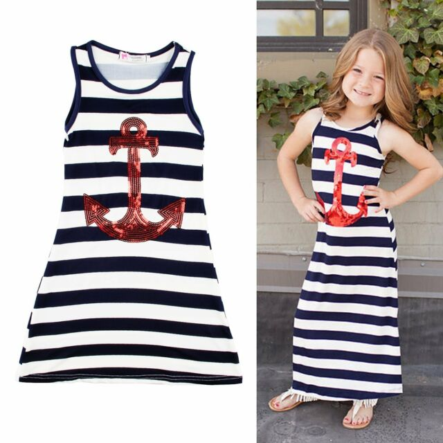 2015 Hot Fashion Toddlers Kids Girls Baby Striped Beach Summer Long Maxi Dresses