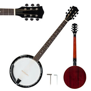 New-6-String-Banjo-Full-Size-with-Closed-Back-24-Brackets-Head-amp-Maple-Neck