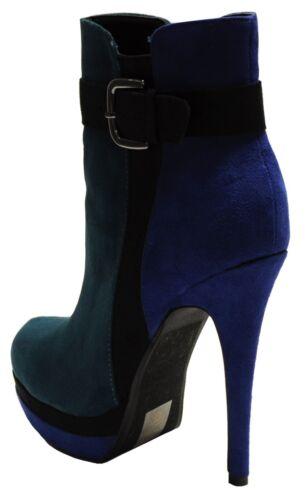 New women/'s shoes boots suede like buckle side zipper green blue black
