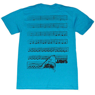 Jaws Music Notes Shark Licensed Adult Shirt S-XXL