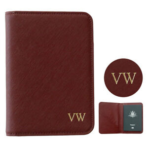 PERSONALISED-MONOGRAM-Womens-Mens-Leather-Passport-Holder-Travel-Wallet-Dark-Red
