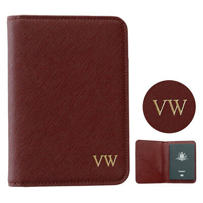 PERSONALISED Womens Mens Leather Passport Holder Travel Wallet Burgundy Red