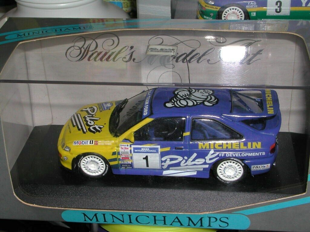 1 43 Minichamps Ford Escort Cosworth ADAC & Michelin Rally Champion & Street