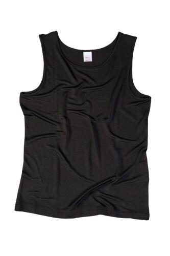 Schwarz 100/% Seide L SUPERIOR NATURALS Damen Unterhemd Achselhemd 44//46