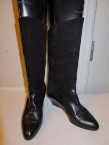 3c72212ba2f3 WOMENS BLOOMINGDALE S BLACK SUEDE   PATENT LEATHER WEDGE BOOTS SIZE ...