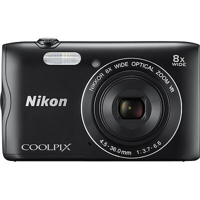 "NIKON COOLPIX A300 20.1MP Compact Camera Black with Bluetooth and 2.7"" Display"