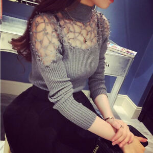 Sexy-Womens-Ladies-Long-Sleeve-Lace-Crochet-Mock-Turtle-Neck-Knitted-Tops-Blouse