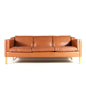 Retro-Vintage-Danish-Stouby-Tan-Leather-3-Seat-Seater-Sofa-Scandinavian-60s-70s