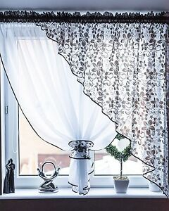 Image Is Loading Modern Floral Set Of Voile Net Curtains Ideal