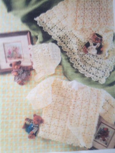 Baby/'s Crochet Pattern For Jacket Shawl /& Bonnet In 4 Ply 18in See Det B25