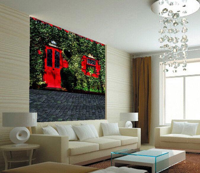 3D Rote Fenster Türen 85 85 85 Tapete Wandgemälde Tapete Tapeten Bild Familie DE | Modern  4b9180